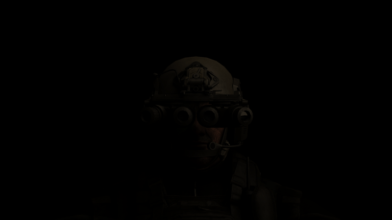 Soldier with GPNVGs in darkness